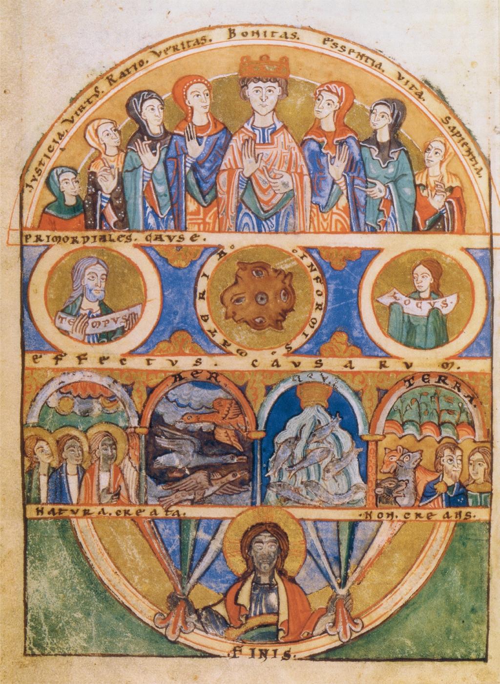 De vorming van de wereld, uit de 'Clavis physicae' van de twaalfde-eeuwse theoloog Honorius Augustodunensis.
